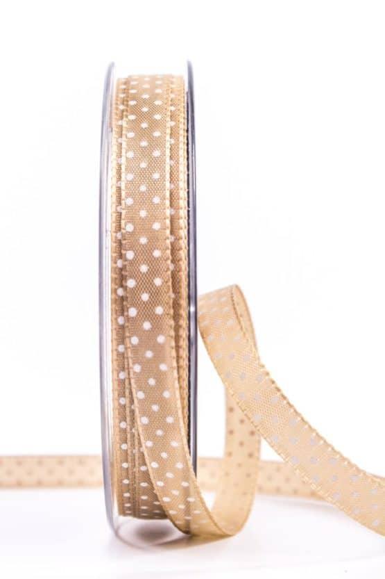 Geschenkband mit Pünktchen, 10 mm, braun - bedrucktes-satinband, bedruckte-everyday-bander