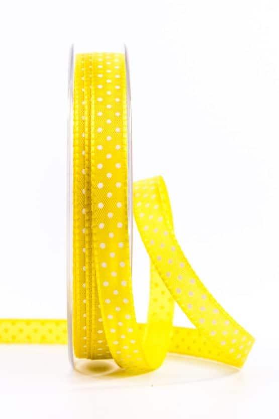 Geschenkband mit Pünktchen, 10 mm, gelb - dekobaender-fruehjahr, bedrucktes-satinband, bedruckte-everyday-bander