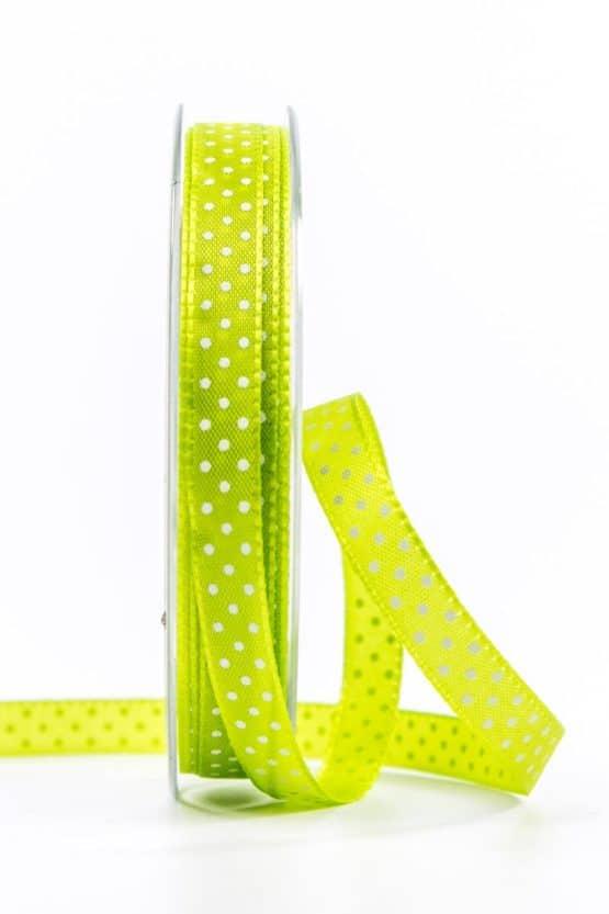 Geschenkband mit Pünktchen, 10 mm, hellgrün - bedrucktes-satinband, bedruckte-everyday-bander