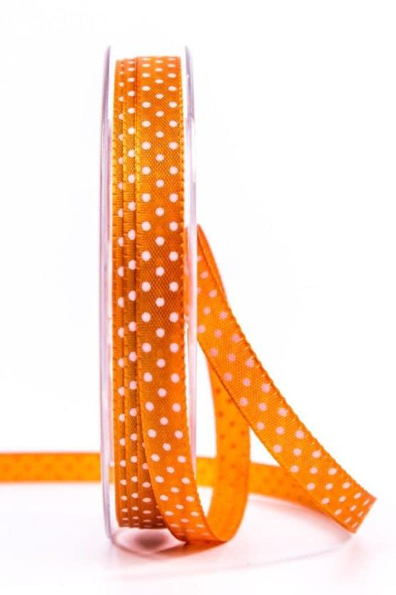 Geschenkband mit Pünktchen, 10 mm, orange - bedrucktes-satinband, bedruckte-everyday-bander