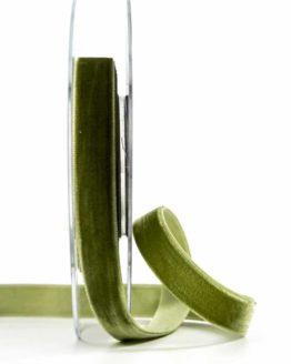 Samtband, olivgrün, 15 mm breit - schleifenband-hochzeit, samtbaender, geschenkbaender, geschenkband-fuer-anlaesse, anlaesse-geschenkband-fuer-anlaesse