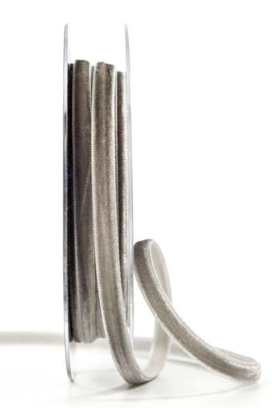 Samtband, grau, 6 mm breit - schleifenband-hochzeit, samtbaender, geschenkbaender, geschenkband-fuer-anlaesse, anlaesse-geschenkband-fuer-anlaesse