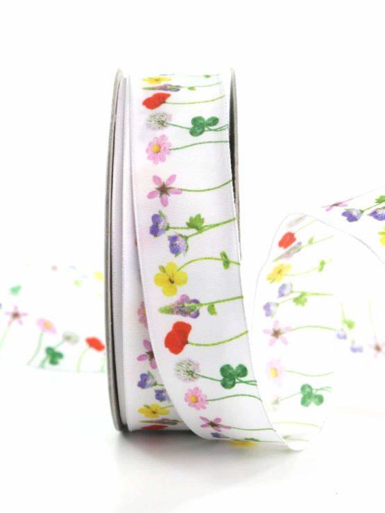 Dekoband Blumenwiese, 25 mm breit - geschenkbaender, gemusterte-bander, dekobaender, dekoband, bedrucktes-satinband, bedruckte-everyday-bander