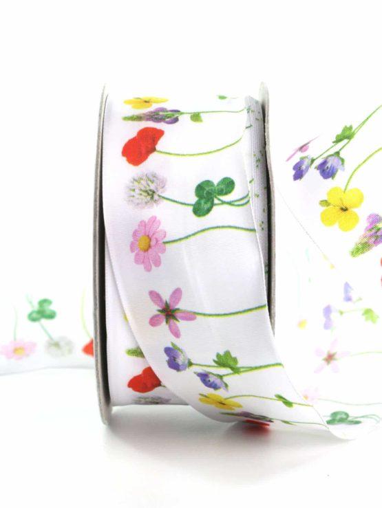 Dekoband Blumenwiese, 40 mm breit - geschenkbaender, gemusterte-bander, dekobaender, dekoband, bedrucktes-satinband, bedruckte-everyday-bander