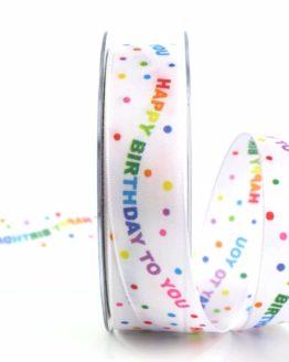 Geschenkband Happy Birthday, 40 mm - geschenkband-fuer-anlaesse, gemusterte-bander, dekobaender, bedruckte-everyday-bander