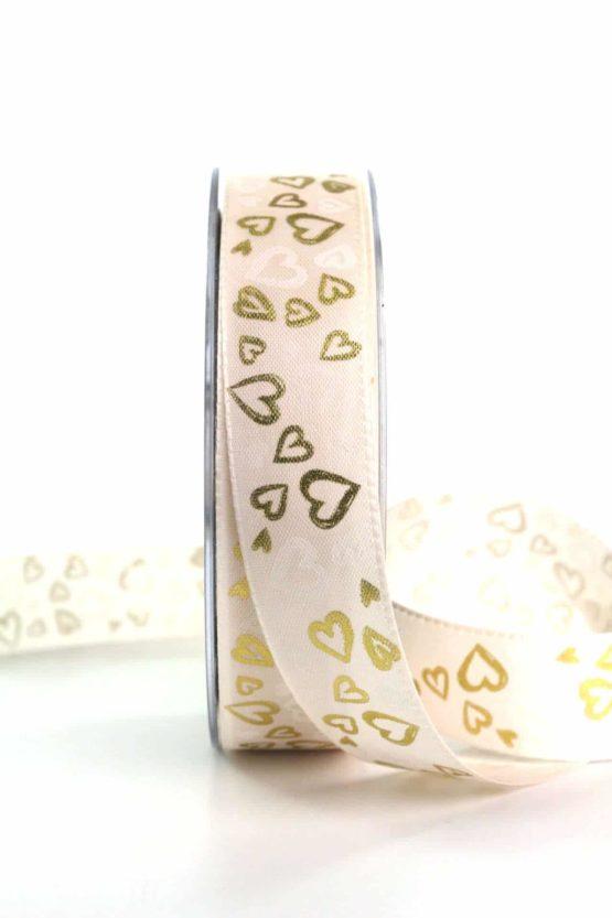 Satinband mit Herzen, creme-gold, 25 mm breit - satinband, hochzeitsbaender, gemusterte-bander, bedrucktes-satinband, anlaesse