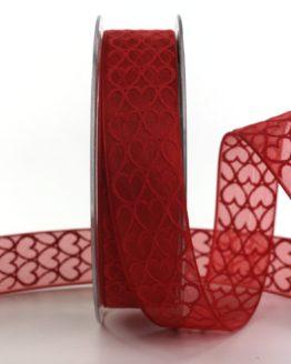 Organzaband mit Herzen, rot, 25 mm breit - anlaesse, hochzeitsbaender, gemusterte-bander, bedrucktes-satinband, valentinstag, muttertag