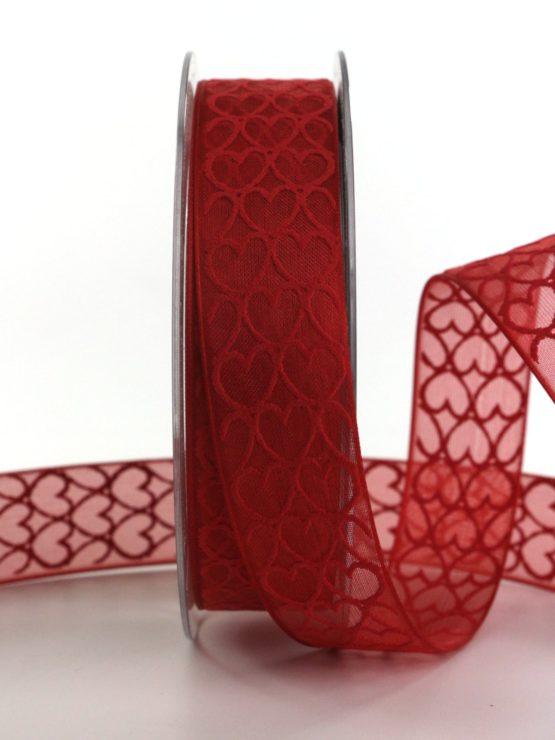 Organzaband mit Herzen, rot, 25 mm breit - hochzeitsbaender, gemusterte-bander, bedrucktes-satinband, valentinstag, muttertag, anlaesse