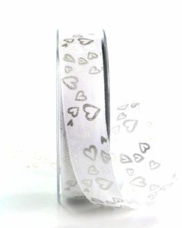 Satinband mit Herzen, weiß-silber, 25 mm breit - satinband, hochzeitsbaender, gemusterte-bander, bedrucktes-satinband, anlaesse