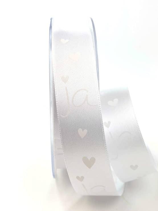 """Satinband """"JA"""", weiß-weiß, 25 mm breit - satinband, hochzeitsbaender, gemusterte-bander, bedrucktes-satinband, anlaesse"""