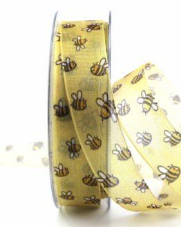 Dekoband Bienen, 25 mm breit - gemusterte-bander, dekobaender, bedrucktes-satinband, bedruckte-everyday-bander