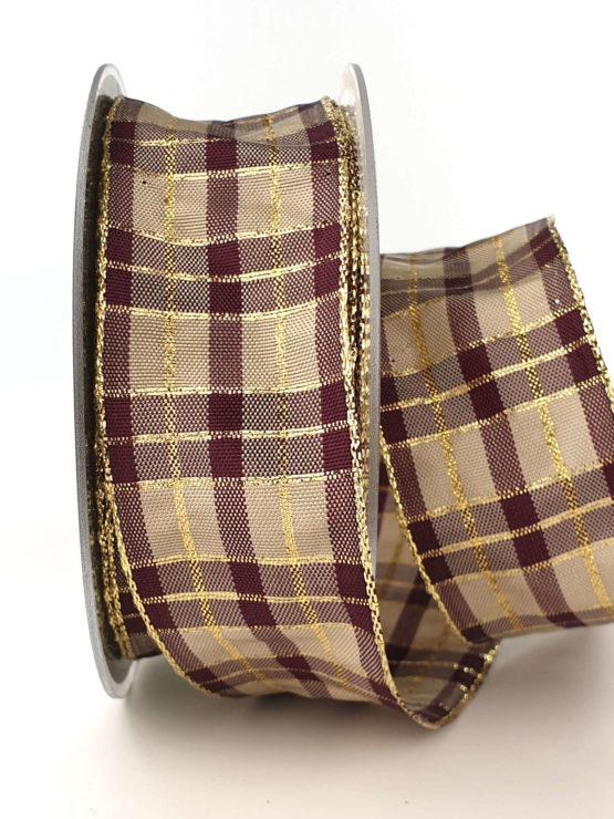 Karoband, 40 mm breit, aubergine-gold - weihnachtsband