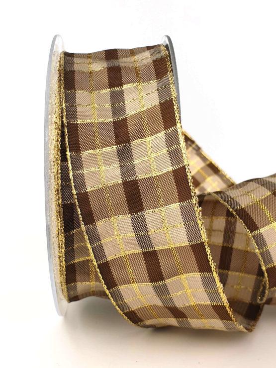 Karoband, 40 mm breit, braun-gold - weihnachtsband