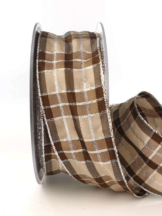 Karoband, 40 mm breit, braun-silber - weihnachtsband