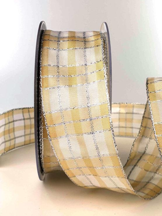 Karoband, 40 mm breit, creme-silber - weihnachtsband