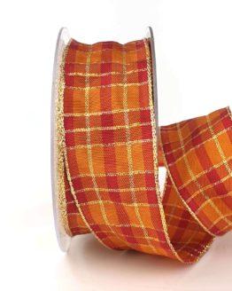 Karoband, 40 mm breit, orange-gold - weihnachtsband