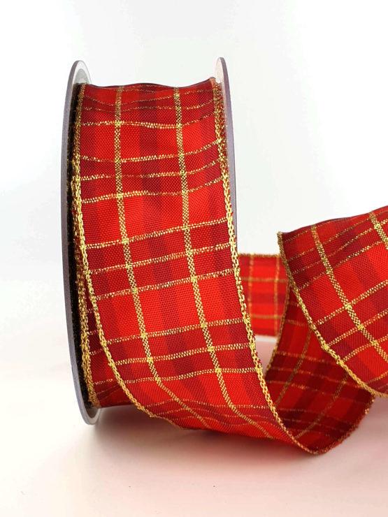Karoband, 40 mm breit, bordeaux-gold - weihnachtsband