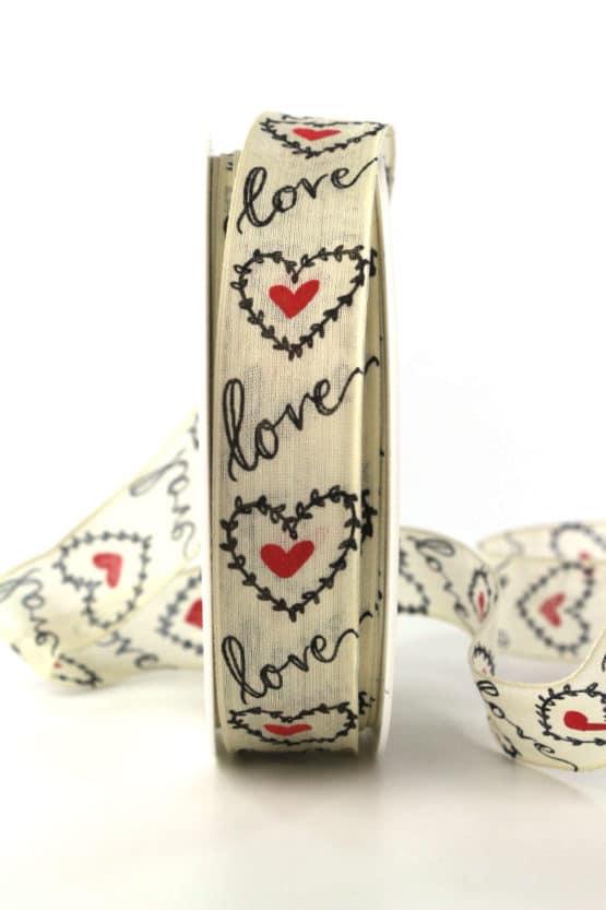 """Geschenkband """"Love"""" mit Herzen, 25 mm breit - hochzeitsbaender, bedrucktes-satinband, bedruckte-everyday-bander, valentinstag, muttertag"""