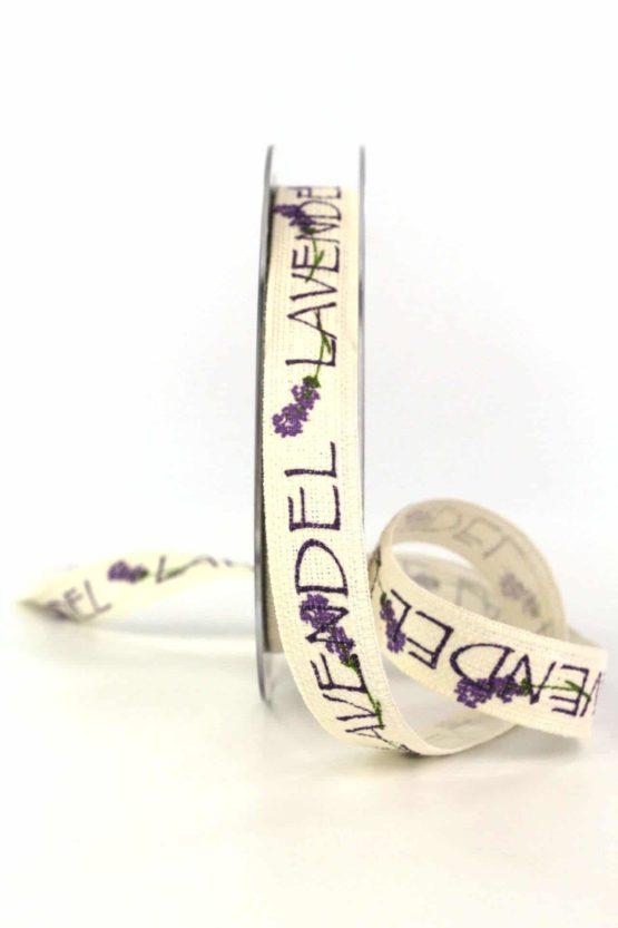 Leinenband Lavendel, 15 mm breit - geschenkbaender, gemusterte-bander, dekobaender, dekoband, bedrucktes-satinband, bedruckte-everyday-bander