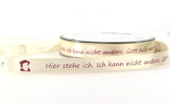 Satinband Martin Luther - Reformationsjubiläum 2017, 15 mm - satinband, reformationsjubilaeum, bedrucktes-satinband