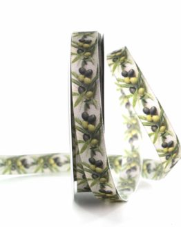 Dekoband Oliven, 15 mm breit - geschenkbaender, gemusterte-bander, dekobaender, dekoband, bedrucktes-satinband, bedruckte-everyday-bander