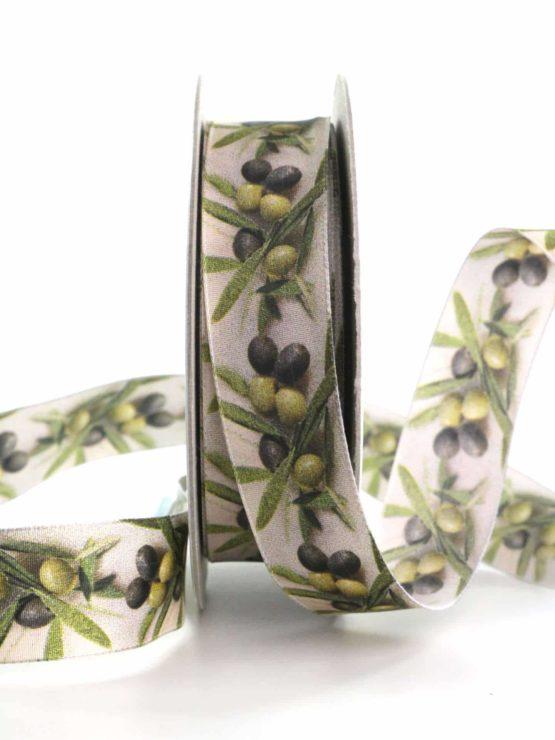 Dekoband Oliven, 25 mm breit - geschenkbaender, gemusterte-bander, dekobaender, dekoband, bedrucktes-satinband, bedruckte-everyday-bander