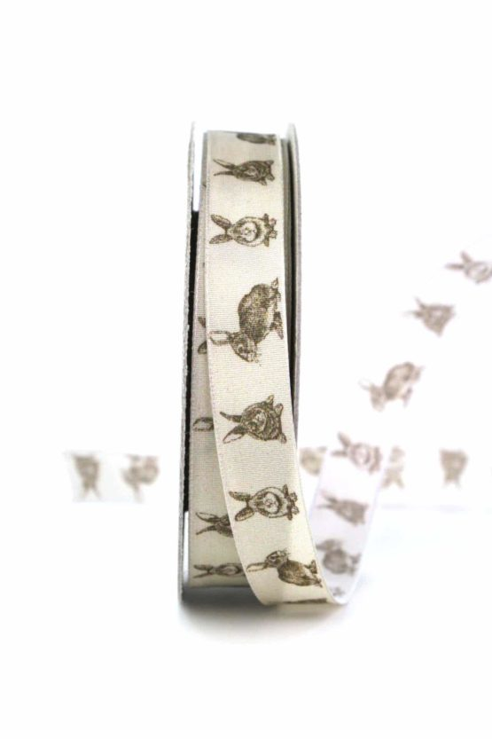 Geschenkband Osterhase, braun, 15 mm breit - osterdeko_2021, gemusterte-bander, bedrucktes-satinband, bedruckte-osterbaender