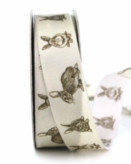 Geschenkband Osterhase, braun, 25 mm breit - osterdeko_2021, gemusterte-bander, bedrucktes-satinband, bedruckte-osterbaender