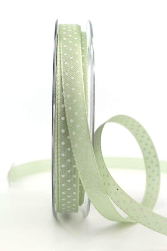 Geschenkband mit Pünktchen, 10 mm, mintgrün - bedrucktes-satinband, bedruckte-everyday-bander
