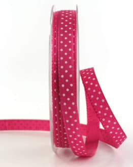 Geschenkband mit Pünktchen, 10 mm, pink - bedrucktes-satinband, bedruckte-everyday-bander