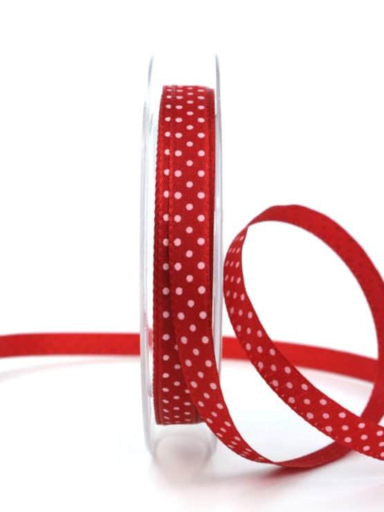 Geschenkband mit Pünktchen, 10 mm, rot - dekobaender-fruehjahr, bedrucktes-satinband, bedruckte-everyday-bander