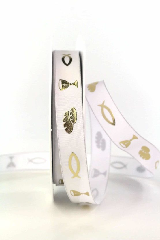 Taftband m. Fisch, Brot und Kelch, weiß, 15  mm breit - satinband, taufe, kommunion-konfirmation, anlaesse