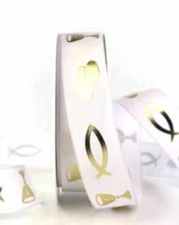 Satinband m. Fisch, Brot und Kelch, weiß, 25  mm breit - satinband, taufe, kommunion-konfirmation, anlaesse