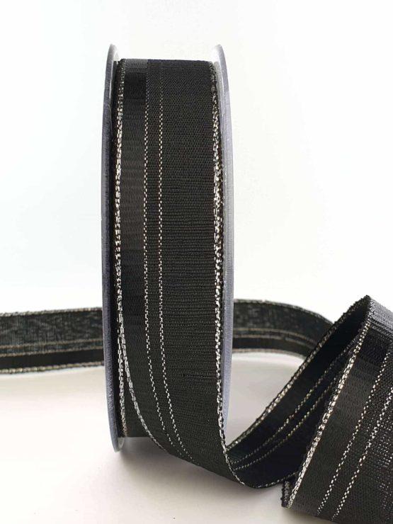 Dekoband / Trauerband schwarz-silber, 25 mm - weihnachtsband