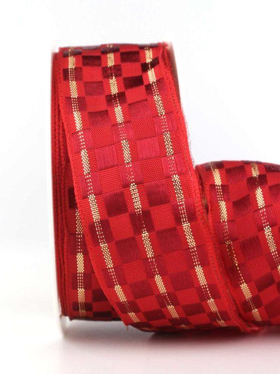 Geschenkband Weihnachtskästchen, rot-gold, 40 mm mit Draht - weihnachtsband