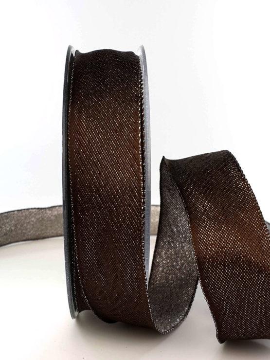 Zweiseitiges Satinband schokobraun-silber, 25 mm breit - weihnachtsband
