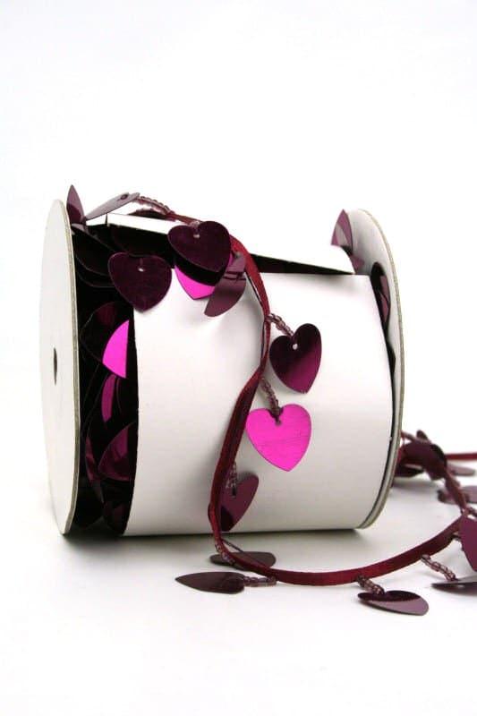 Girlande mit kardinal farbenen Herzen - hochzeitsbaender, girlande, valentinstag, muttertag