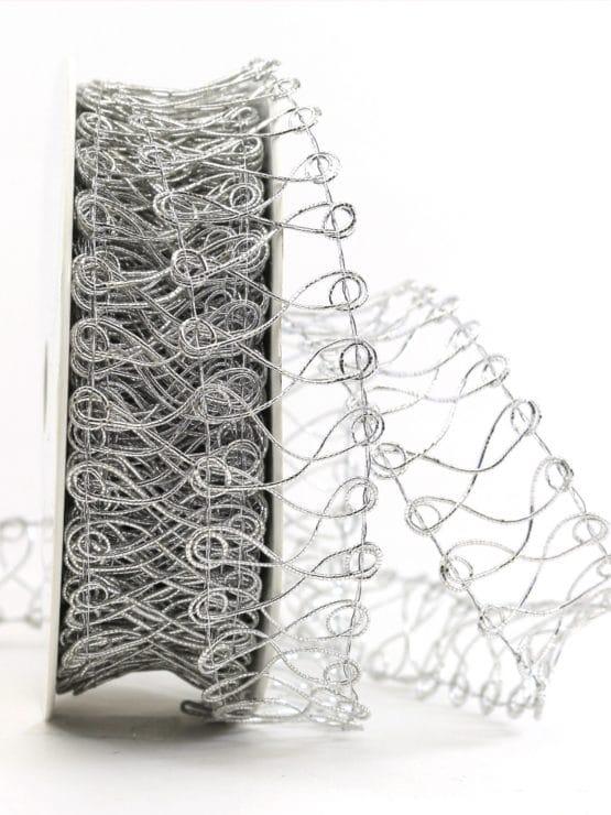 Spitze aus Lurexgarn, silber, 30 mm - weihnachtsband