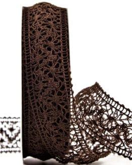 Häkelspitze, braun, 38 mm breit - spitzenbaender
