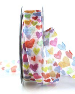Organzaband mit bunten Herzen, 25 mm breit - anlaesse, hochzeitsbaender, gemusterte-bander, bedrucktes-satinband, valentinstag, muttertag