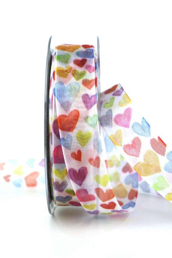 Organzaband mit bunten Herzen, 25 mm breit - hochzeitsbaender, gemusterte-bander, bedrucktes-satinband, valentinstag, muttertag, anlaesse