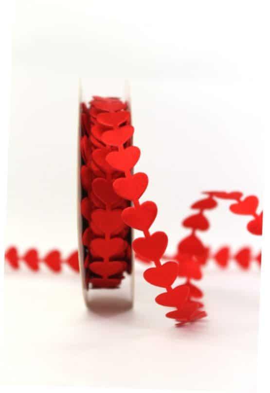 Herzengirlande, rot, 15 mm breit - hochzeitsbaender, valentinstag, muttertag