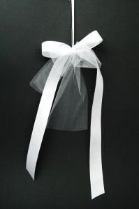 Hochzeitsschleife mit Tüll zweifach
