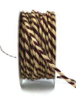 Jutekordel, 2-farbig bordeaux-braun, 4 mm stark - zierkordeln, andere-baender