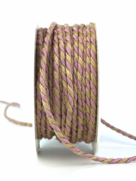 Jutekordel, 2-farbig rosé-braun, 4 mm stark - zierkordeln, andere-baender