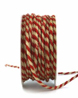 Jutekordel, 2-farbig rot-braun, 4 mm stark - zierkordeln, andere-baender