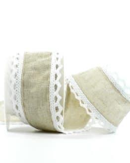 Juteband mit Spitze, natur m. weiß, 50 mm breit - spitzenbaender, hochzeitsbaender, anlaesse