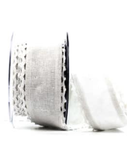 Juteband mit Spitze, weiß m. weiss, 50 mm breit - spitzenbaender, hochzeitsbaender, anlaesse