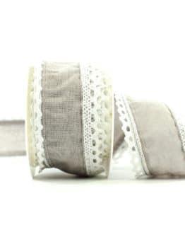 Juteband mit Spitze, grau m. weiss, 50 mm breit - spitzenbaender, hochzeitsbaender, anlaesse