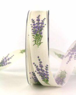 Dekoband Lavendel, 25 mm breit - geschenkbaender, gemusterte-bander, dekobaender, dekoband, bedrucktes-satinband, bedruckte-everyday-bander